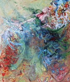 """""""Mit dem ganzen"""", Mixed Media on Cotton, 175 x 150 cm, 2020/ Berlin"""