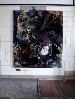 """Vibrant gloom"" (Installation view, KURO NOIR BLACK SCHWARZ), Oil paint, Pigment, Oil chalk, Glue colour and Tempera on cotton, 175 x 150 cm, 2020/ Berlin"