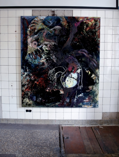 """Vibrant gloom"" (Installation view, KURO NOIR BLACK SCHWARZ), Oil paint, Pigment, Oil chalk, Glue colour and Tempera on cotton, 175 x 150 cm, 2020/ Berlin"