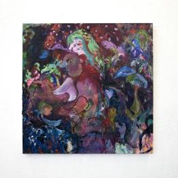 """""""Myzelien"""", 2020/ 21, Oil, Oil chalk, Glue Colour and Pigments on Cotton, 100 x 100 cm"""