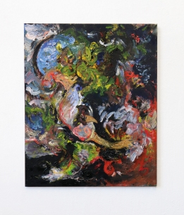 """""""Rooting (The end of voicelessness)"""", 2021, Oil, Oil Chalk, Glue Colour and Pigments on Cotton, 110 x 90 cm"""
